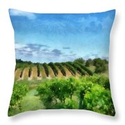 Mission Peninsula Vineyard ll Throw Pillow by Michelle Calkins