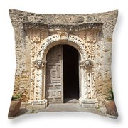 Mission San Jose Chapel Entry Doorway Throw Pillow by John Stephens