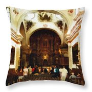 Mission San Xavier Del Bac Throw Pillow by Bob and Nadine Johnston