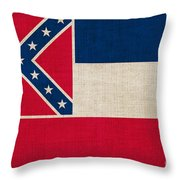 Mississippi State Flag Throw Pillow by Pixel Chimp