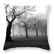 Mist In The Park Throw Pillow by Mark Rogan