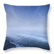 Misty Seaside In The Evening, Mons Throw Pillow by Evgeny Kuklev