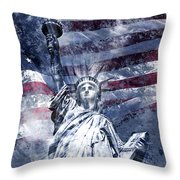 Modern Art Statue Of Liberty Blue Throw Pillow by Melanie Viola