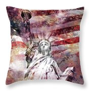 Modern Art Statue Of Liberty Red Throw Pillow by Melanie Viola