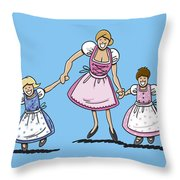 Mom With Daughters Wearing Dirndl Throw Pillow by Frank Ramspott
