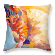 Mona Lisa's Rainbow Throw Pillow by Kimberly Santini