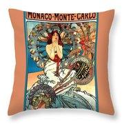 Monaco Monte Carlo Throw Pillow by Alphonse Maria Mucha