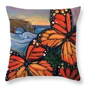 Monarch Butterflies at Natural Bridges Throw Pillow by Jen Norton