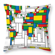 Mondrian World Map Throw Pillow by Gary Grayson