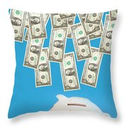 Money Saving Throw Pillow by Michal Bednarek