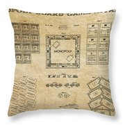 Monopoly Board Game Aged Patent Art  1935 Throw Pillow by Daniel Hagerman