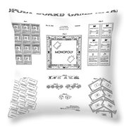 Monopoly Board Game Patent Art  1935 Throw Pillow by Daniel Hagerman
