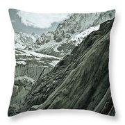 Mont Blanc Glacier Throw Pillow by Frank Tschakert