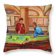 Montreal Pool Room Throw Pillow by Carole Spandau