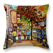 Montreal Streetscenes By Cityscene Artist Carole Spandau Over 500 Montreal Canvas Prints To Choose Throw Pillow by Carole Spandau