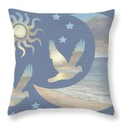 Moon And Stars Throw Pillow by Diane Romanello