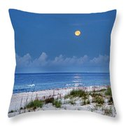 Moon Over Beach Throw Pillow by Michael Thomas