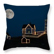 Moon Over Cape Neddick Throw Pillow by Guy Whiteley