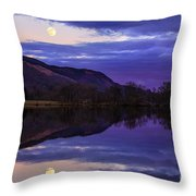 Moon Rising Over Loch Ard Throw Pillow by John Farnan