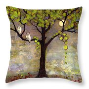 Moon River Tree Owls Art Throw Pillow by Blenda Studio