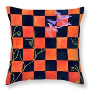 Flight Of The Moon Witch Checkerboard Throw Pillow by Janet Immordino