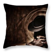 Moonlight Cowboy Throw Pillow by Olivier Le Queinec