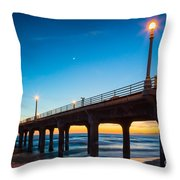 Moonlight Pier Throw Pillow by Inge Johnsson