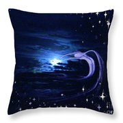 Moonlight Swim Throw Pillow by Jacquelyn Roberts