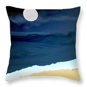 Moonlight Walk At Low Tide Throw Pillow by Kae Cheatham