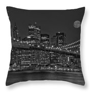 Moonrise Over The Brooklyn Bridge BW Throw Pillow by Susan Candelario