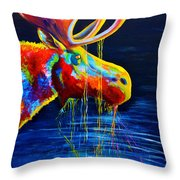 Moose Drool Throw Pillow by Teshia Art