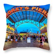 Moreys Piers In Wildwood Throw Pillow by Mark Miller