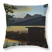 Morning At Lake Mcdonald Glacier Park Throw Pillow by Frank Hunter
