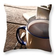 Morning Coffee At The Ranch  Throw Pillow by Olivier Le Queinec
