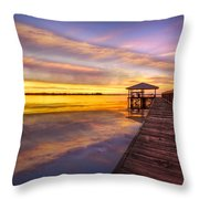 Morning Dock Throw Pillow by Debra and Dave Vanderlaan