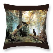 Morning In A Pine Forest Throw Pillow by Ivan Shishkin