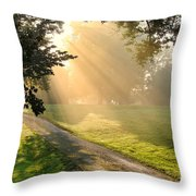 Morning On Country Road Throw Pillow by Olivier Le Queinec
