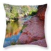 Morning Sun on Oak Creek - Slide Rock State Park Sedona Arizona Throw Pillow by Silvio Ligutti