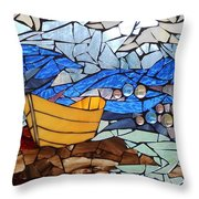Mosaic Stained Glass - Dory  Throw Pillow by Catherine Van Der Woerd