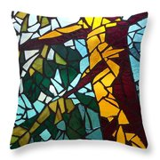 Mosaic Stained Glass - First tree Throw Pillow by Catherine Van Der Woerd
