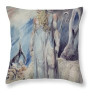 Moses And The Burning Bush Throw Pillow by William Blake