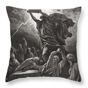 Moses Breaking The Tablets Of The Law Throw Pillow by Gustave Dore