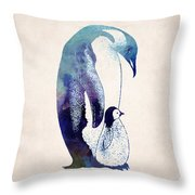 Mother And Baby Penguin Throw Pillow by World Art Prints And Designs