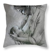 Mother And Baby Throw Pillow by Viola El