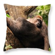 Mother And Youg Gorilla Sleeping In A Tree Throw Pillow by Chris Flees