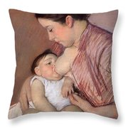 Motherhood Throw Pillow by Marry Cassatt
