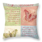Mother's Day Butterfly card Throw Pillow by Debbie DeWitt