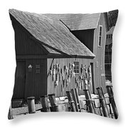 Motif Number One Bw Black And White Rockport Lobster Shack Maritime Throw Pillow by Jon Holiday