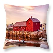 Motif Number One Rockport Massachusetts Throw Pillow by Bob and Nadine Johnston