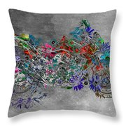 Moto Art  Floral Sp01bb Throw Pillow by Variance Collections